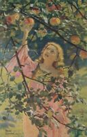 Franz Goepfart Signed Young Woman Picking Apples - 1919