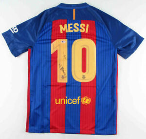 Lionel Messi Signed FC Barcelona NIKE On Field Jersey Inscribed Leo Beckett COA!