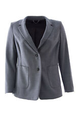 MARINA RINALDI Women's Grey Cento Wool Blend Two-Button Blazer $560 NWT