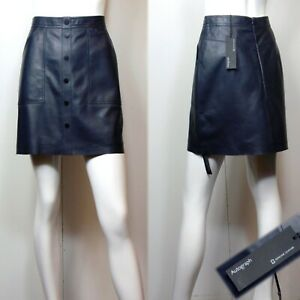 M&S AUTOGRAPH Real LEATHER A-Line MINI SKIRT ~ Size 10 ~ NAVY (rrp £149)