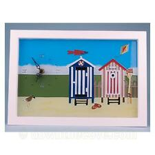 Seaside Scenes Beach Hut Clock - Painted Glass - Great Gift - 1st Class Post!
