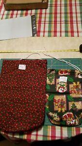 "Lt 9 Pair Gift Bags Christmas Print 2 Sizes 17""×13"",  13""×9"" Reusable Fabric"