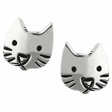 Sterling Silver Far Fetched - Gift Boxed Small Kitty Cat Face Stud Earrings 925