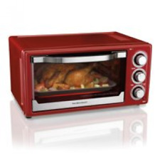 Hamilton Beach 6 Slice Timer, Stay On, Toaster Convection / Broiler Oven Red