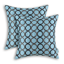 2Pcs Light Blue Square Pillows Cushion Covers Shells Chain Circles Ring 45X45cm