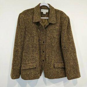 Rena Rowan Wool Blend Blazer Size 20W Brown Black Tweed Button Pockets Collared