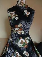 15,98€/m Stoff elastische Viskose Jersey Blumen in schwarz bunt 1,60m Breit