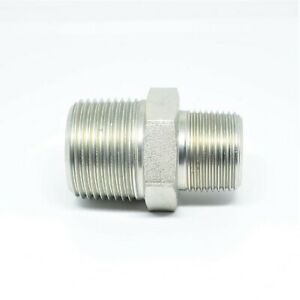 Steel 1in to 3/4 Male NPT Pipe Reducer Hex Nipple Fitting Water Oil Gas Liquid