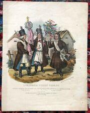 Rare Lithographie Aquarellée XIXème - Paysans Polonais - Pologne - Lublin - Noce