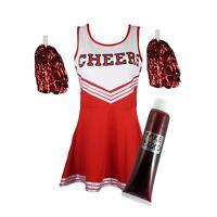 Zombie Cheerleader Disfraz Halloween Alto Escuela Sangre + Pompones