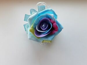 Prom /Wedding rainbow multi colour rose Wrist Corsage/sparkle crystal bracelet