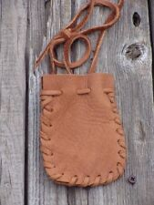 Drawstring leather neck pouch , Leather medicine bag , Leather necklace bag