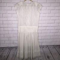 VIntage Jessica McClintock sz 9 Gunne Sax Lace Dress White Ivory 80's Made USA
