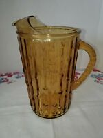 Vintage Anchor Hocking Tahiti Bamboo Tiki Amber Yellow Glass Pitcher
