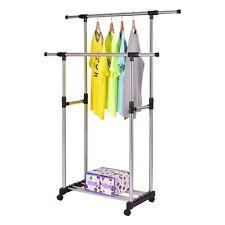 Double Rail Rolling Adjustable Garment Rack Closet Organizer Steel + Plastic