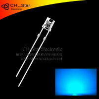 100PCS 3mm Flat Top Blue Light LED Diodes Wide Angle Water Clear Transparent