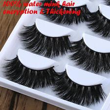 5 Pairs 100% Mink Hair Long Thick Eye Lashes Makeup False Eyelashes Extension