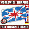 grunge union jack flag, mini land rover sticker / decal 125mm x 75mm