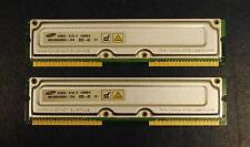 SAMSUNG 128MB / 8 nonECC PC800-45 RDRAM MR16R0828BN1-CK8 Modules Matched Pair