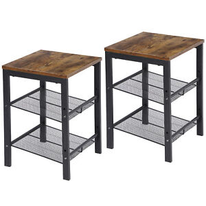 Set of 2 Side Tables End Tables Industrial with Storage Shelf For Living Room
