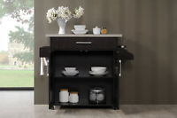 Chocolate-Grey Home Kitchen Cart Cabinet Storage W/ Spice Rack Plus Towel Holder
