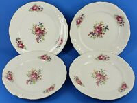 WAWEL ROSE PEONY Wav11 China Gold Trimmed Set of 4 Dinner Plates Made in Poland