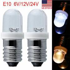 2/10Pcs E10 LED Screw Base Indicator Bulb 6-24V Illumination Lamp Lights White