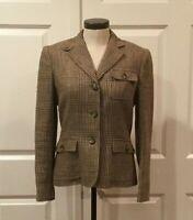 Ralph Lauren Women's Jacket Linen Size 6 Sport Coat Beige Brown/Tan-Excellent