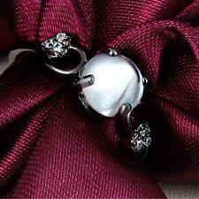 Womens Sweet Cat Eye Black Gold Filled Heart Rhinestone Crystal Ring Size 6 7 8
