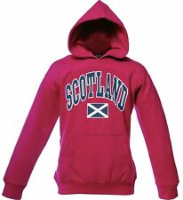 Children's Harvard Style Hooded Jumper With Scotland Text In Heliconia 5-6 Years