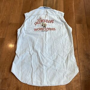 """Mens Ralph Lauren """"Workclothes"""" Indian Chambray Button Shirt Sleeveless Sz L"""