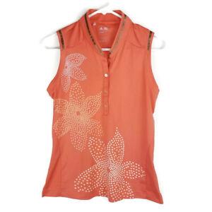 Adidas Womens Golf Shirt Sz S Climacool Orange Floral Sleeveless 1/2 Button