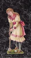 Original Victorian Die Cut Scrap Blond Girl Plays Croquet White Pink Dress 4.5x2