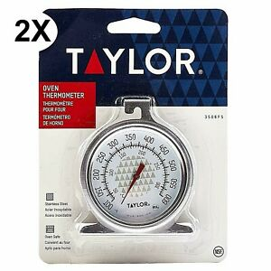 """2 PIECES- NEW TAYLOR PRECISION 3506 DIAL OVEN THERMOMETER 2.5"""" STAINLESS STEEL"""