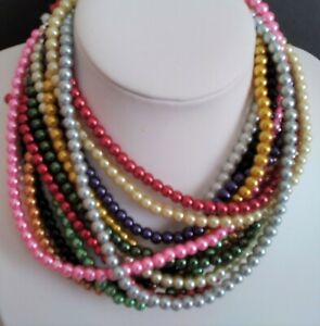 """18"""" 40cm 6mm Glass Pearls Necklace (Choice of colours & Clasps) CLEARANCE PRICE"""