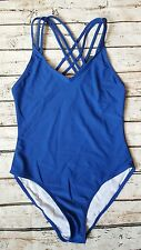 New French Connection Cross Strap Back Swimsuit sz Medium in Electric Blue