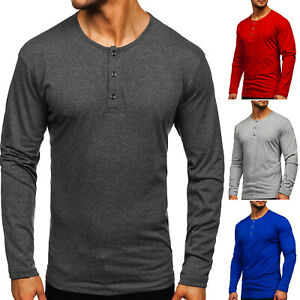 Longsleeve Langarmshirt Sweatshirt Pullover Henley Basic Herren BOLF Uniifarben