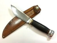 Rare Pat'd 1916 Marbles WOODCRAFT Knife Stacked Leather Aluminum Pommel LRX-1027