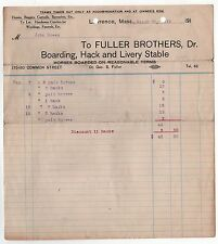 1919 FULLER BROTHERS Billhead HORSES Horse BUGGIES Livery Stable FUNERAL Wedding