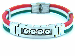 BRACELET WRISTBAND STAINLESS STEEL ITALIAN FLAG JEWELLERY BRACELET