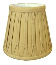 """Clip On Tan Silk Shades with Trim 3"""" x 5"""" x 4 3/8"""" - Sold as a pair only."""