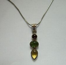"Vintage silver pendant necklace with 3 glass cabochon stones on 18"" snake chain"