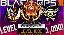 BLACK Ops 3 Level 1000 MASTER PRESTIGE servizio PS4
