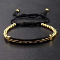 Fashion Luxury CZ Zircon Tubes&4MM Copper Beads Bracelet Bangle Women Men Gift