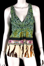 ROBERTO CAVALLI Multi-Color Paisley & Animal Print Jersey Sleeveless Top 40