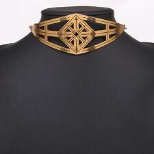 Le donne gotico Intagliato Punk grosso girocollo collana placcato Oro colletto in metallo