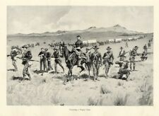 FREDERIC REMINGTON UNITED STATES ARMY PROTECTING ESCORTING A WAGON TRAIN HORSES