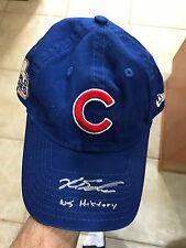 LE CUBS WORLD SERIES CAP-SIGNED INSCRIBED KYLE SCHWARBER-WS HISTORY 1/1 MLB HOLO