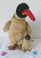 2x Steiff Pinguin Peggy Vogel Knopf Fahne 30cm und 10cm 60/70er Jahre