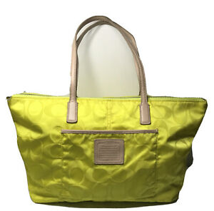 COACH Weekend Signature Nylon Zip Tote 24862 Yellow w/ Natural Leather Trim